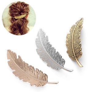 Gold Feather Hair Pin / Clip